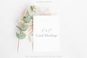 Invitation with eucalyptus mockup