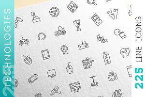 Technologies concepts, icons set