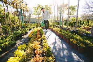 Hipster gardener working