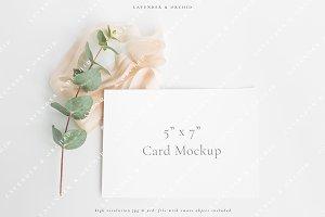 White card & eucalyptus mockup
