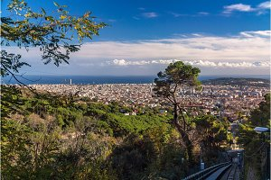 Ascent to Tibidabo mountain on funicular - Barcelona, Spain