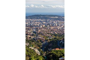 View of Barcelona with Montjuic mountain - Spain