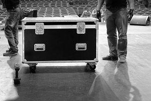 Road case on stage