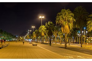 Barcelona embankment in night - Catalonia, Spain