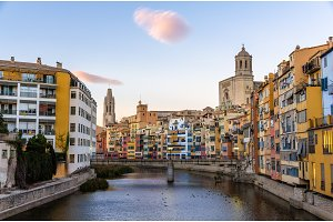 Girona Cathedral and Collegiate Church of Sant Feliu over the ri