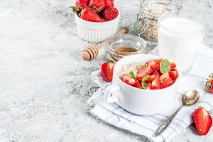 Breakfast oatmeal with strawberry