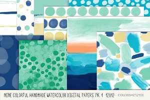 Handmade Watercolor Digital Paper Pk