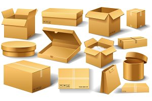 Realistic empty cardboard box Opened. Brown delivery. Carton package with fragile sign on transparent white background. Set of isolated mockup for web. Container for shipping, transportation and mail.
