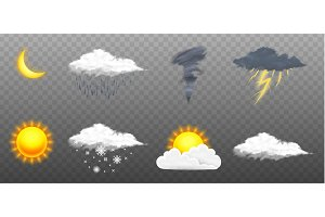 Modern Realistic weather icons set. Meteorology symbols on transparent background. Color Vector illustration for mobile app, print or web. Thunderstorm and rain, clear and cloudy, storm and snow.