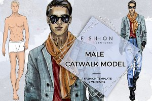 Male Catwalk Model- Fashion Croqui