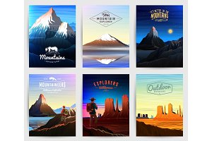 Mountains Peaks card or brochure. Tourism on nature. Landscape early in a daylight. Outdoor hill tops. Set of Vintage Poster or background. template of flyer, book cover and badge.
