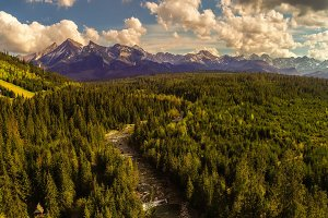 Aerial view of high tatra mountains and Bialka river