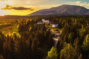 Sunset above a small village located in High Tatra Mountains