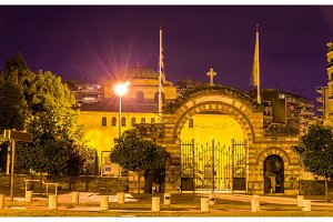 Entrance to the Hagia Sophia church in Thessaloniki, Greece