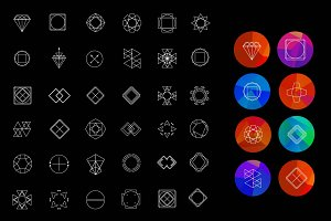 Geometric set with 36 hipster icons