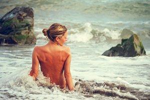 Nude woman in the Mediterranean Sea
