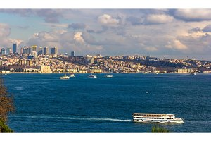 Vew of the Bosphorus strait in Istanbul - Turkey