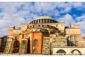 Facade of Hagia Sophia (Holy Wisdom) - Istanbul, Turkey
