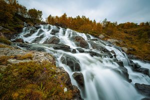 Lofoten waterfall on Moskenesoya, Lofoten, Norway