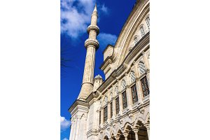 Facade of the Nuruosmaniye Mosque in Istanbul - Turkey