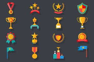 Victory Trophy Award Icons