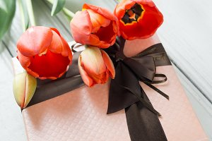 bouquet of red tulips and a birthday