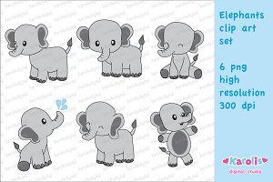 Cute elephants / clip art set