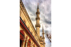 Minarets of the Sultan Ahmet Mosque in Istanbul - Turkey