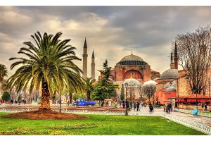 View of Hagia Sophia (Holy Wisdom) - Istanbul, Turkey