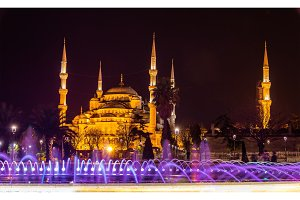 View of the Sultan Ahmed mosque in Istanbul - Turkey