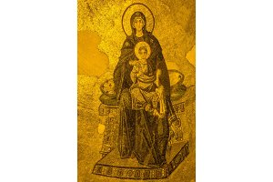 Ancient Apse mosaic of the Theotokos (Virgin Mother and Child) i