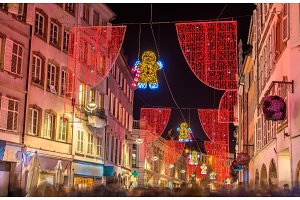 Christmas decorations on streets of Strasbourg, France