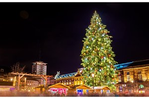 Christmas tree at a famous Christmas Market in Strasbourg, 2015