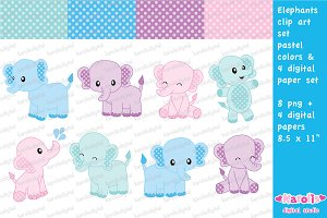 Cute elephants - pastel colors