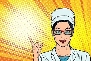 Female doctor points to the side gesture