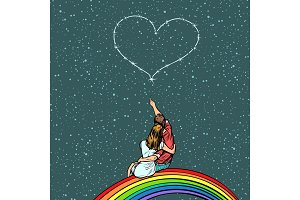 couple in love looks at the heart and sits on a rainbow