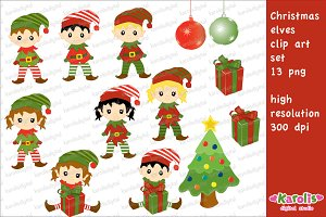 Christmas elves / clip art set