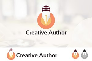 Author Pen Creative Lamp Logo