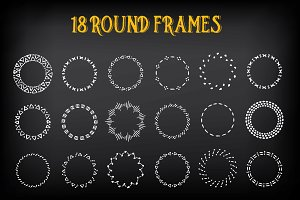 18 Round vintage frames