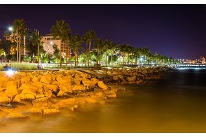 Seaside in Limassol at night - Cyprus