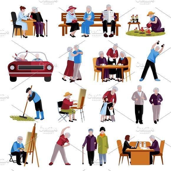 Elderly people icons set