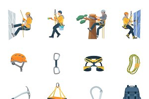 Climbing equipment flat icons set