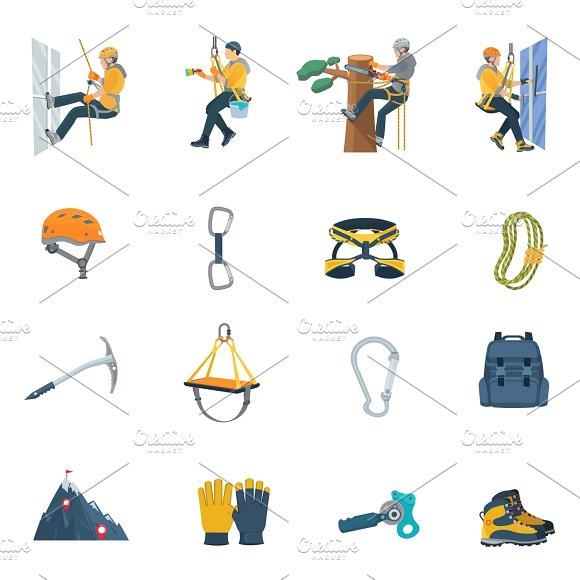 Climbing equipment flat icons set