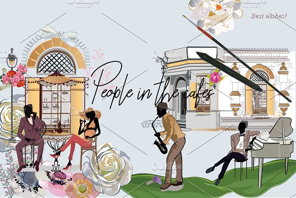 Series of cafes and fashion people.