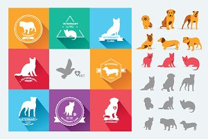 Set dog and cats icons