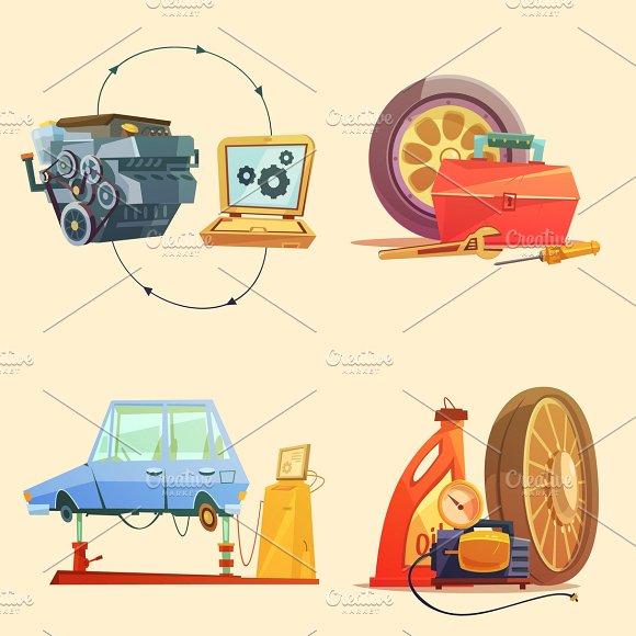 Auto service cartoon icons set