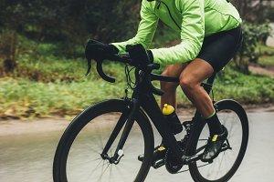 Professional cyclist riding bike