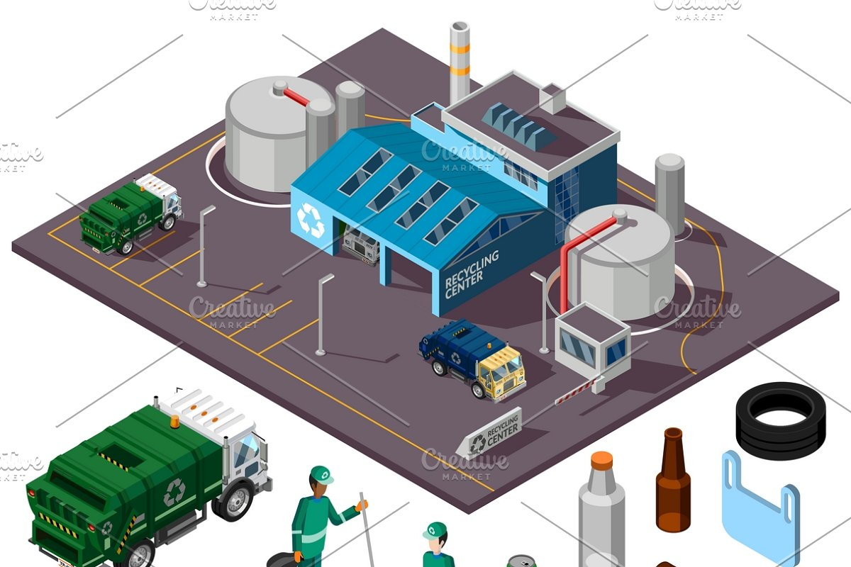 Recycling center isometric concept