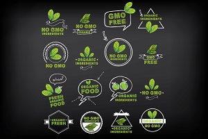 No gmo, vector icon set.