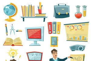 School education decorative icons